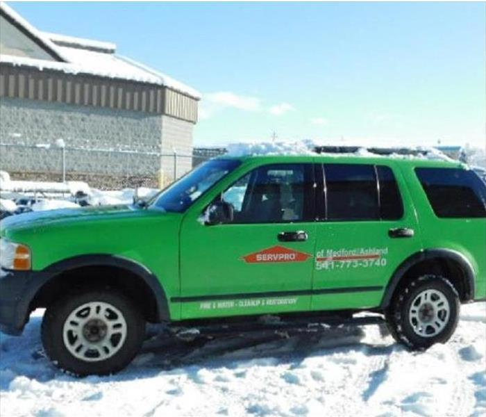 Servpro SUV with snow on the ground