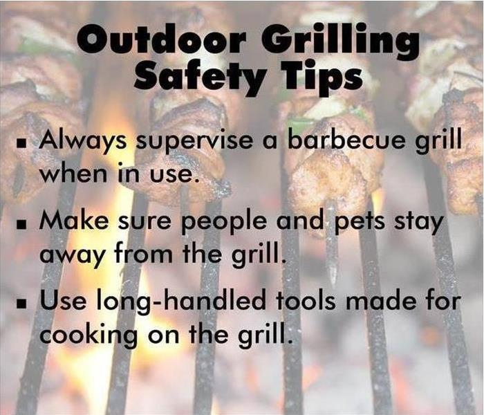 A list of outdoor BBQ safety tips on a half faded background with bbq grill and kebobs imagery